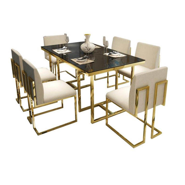 Hotel Furniture Glass Table Dinning Room Modern Stainless Steel Dining Table And Chair Sets