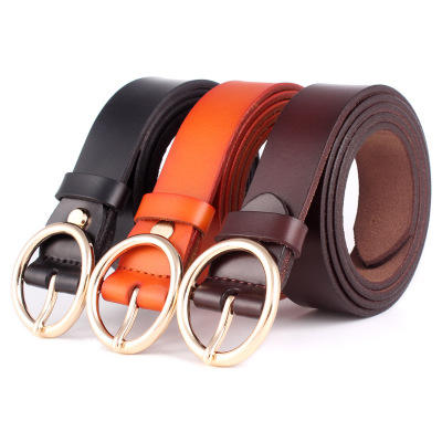 D1567 2019 High Quality Women Casual Decoration Metal Buckle PU Cowhide Leather Belts