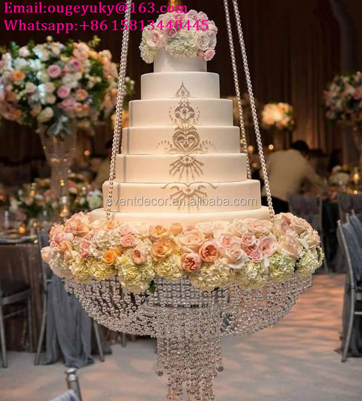 New products hanging cake stands wedding acrylic crystal chandelier cake stand for big cake