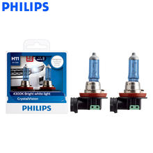 Philips H11 12V 55W Crystal Vision 4300K Halogen Bulbs Bright White Light Car Lamps Stylish Look UV Resistant 12362CVSM, Pai