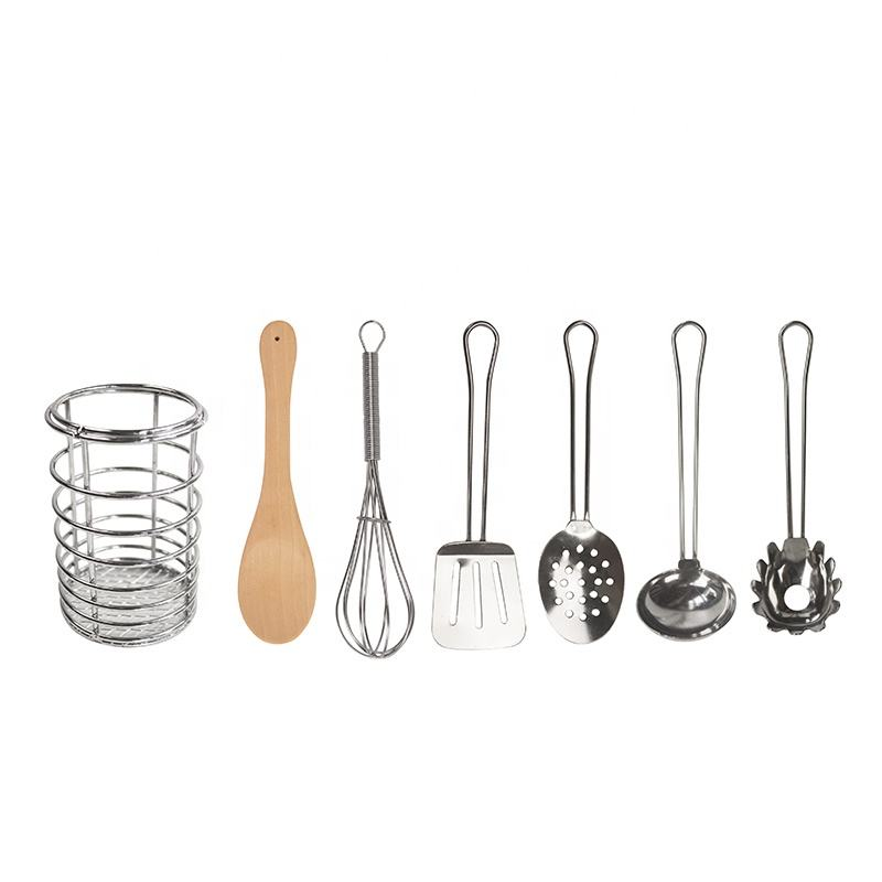 7 pieces Kids Lesson Class Wooden Spoon Stainless Steel Children Cooking Utensils Set With Holder
