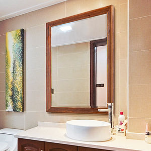 Wall mounted hotel mirror decoration bathroom solid wood framed mirror