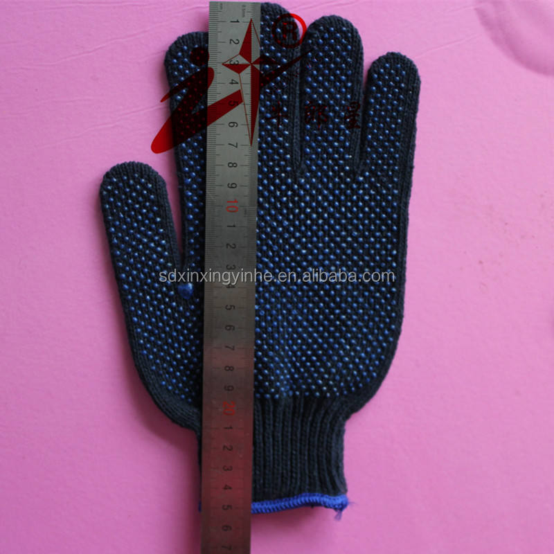 grip dot cotton knitted navy blue gloves