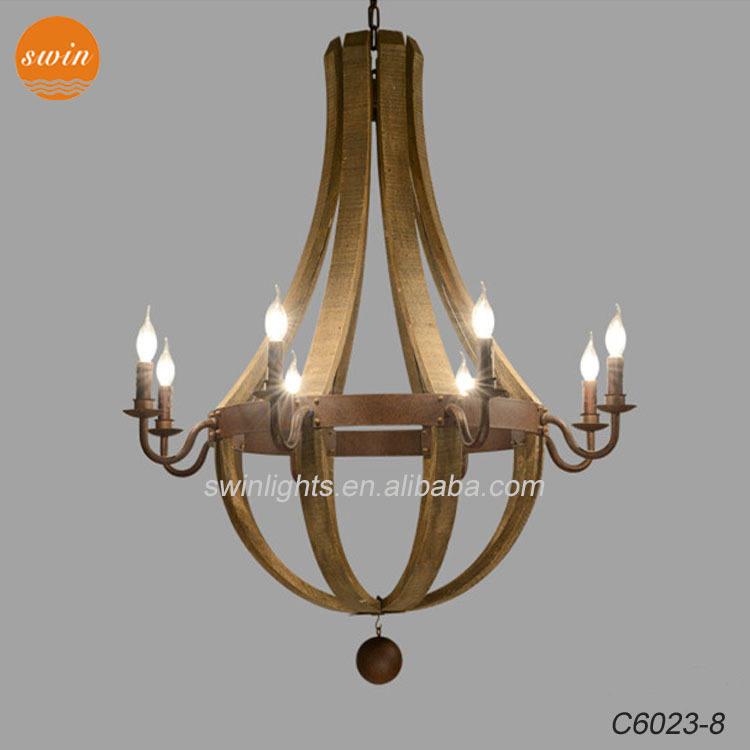 Vintage Vintage Wine Barrel 8-Light โคมไฟระย้าไม้ Retro Rust Wrought Iron จี้ CE