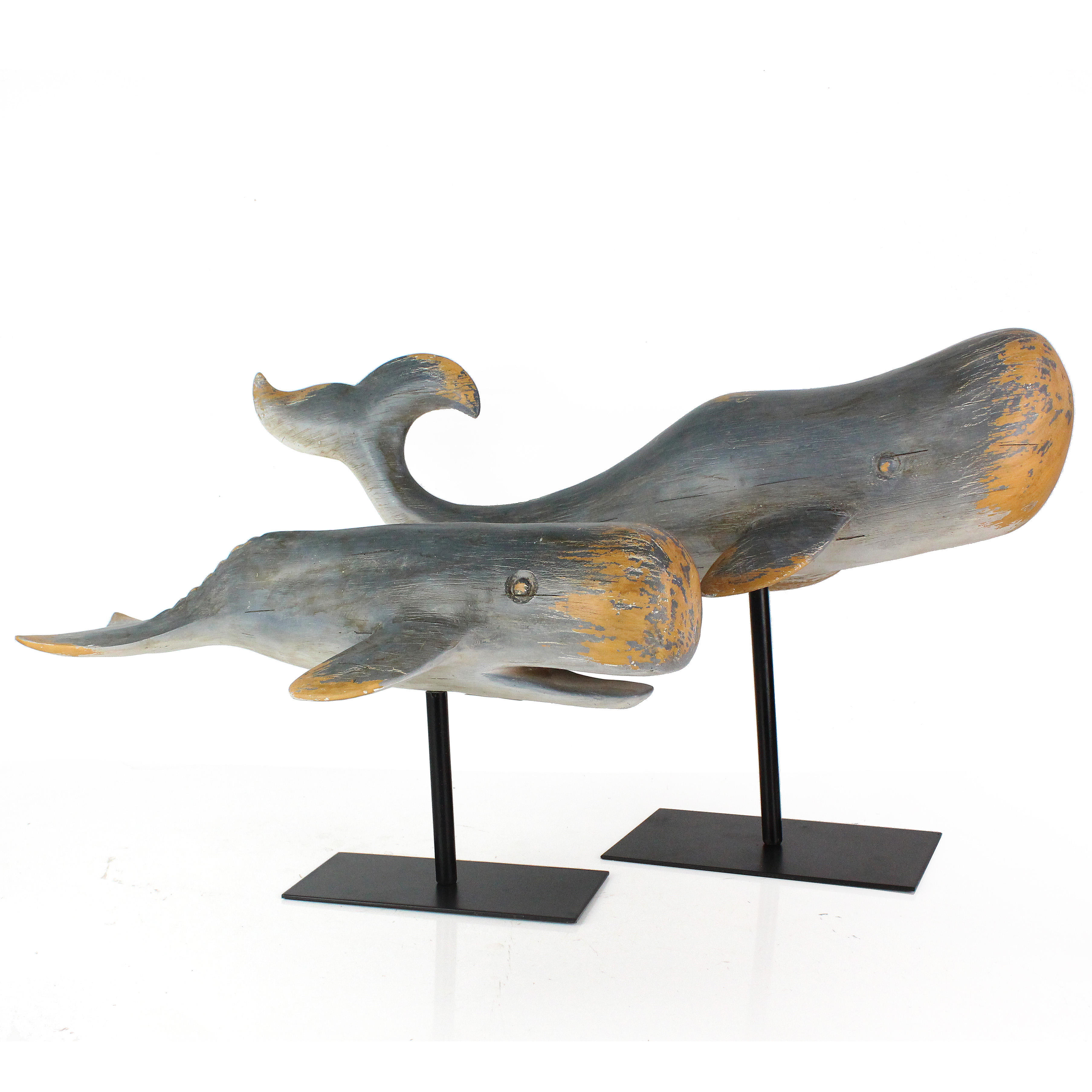 Artificial Resin Imitation Wooden Whale Sculpture with Metal Base Creative Gift