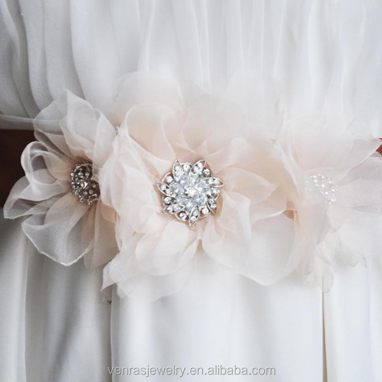 Handmade With Bead Dress Self Adhesive Bridal Sashes Rhinestone Appliques Belt