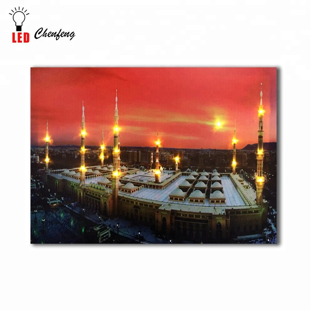 Led Canvas islamic wall art muslim Religion Mecca mosque sunset wall picture canvas painting lighted up printing artwork