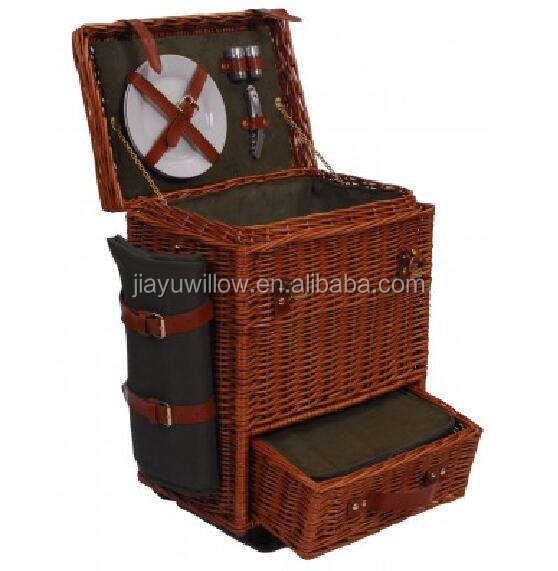 Luxury Trolley 2 Person Wicker Picnic Basket