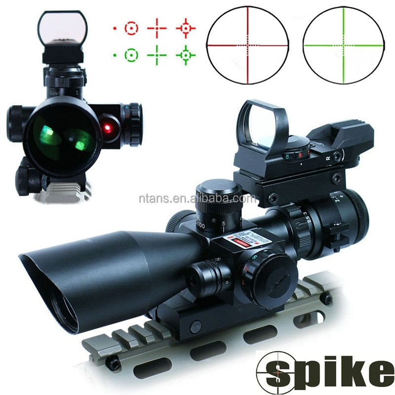 Spike 2.5-10x40 with Red Laser and Red Dot Sight, 3 in 1 Dual illuminated Mil-dot Tactical Rifle Scope