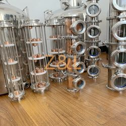 """2"""" 3"""" 4"""" Stainless/ Copper Moonshine Still Column Sections with Copper Bubble Plates For Sale"""