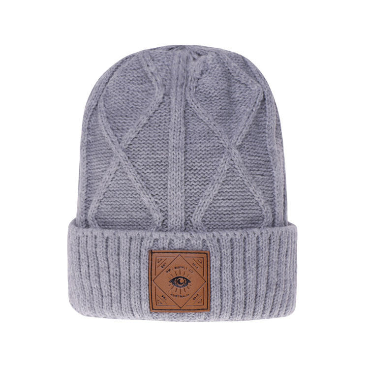 mens gray slouch leather patch logo winter knit acrylic beanie hat