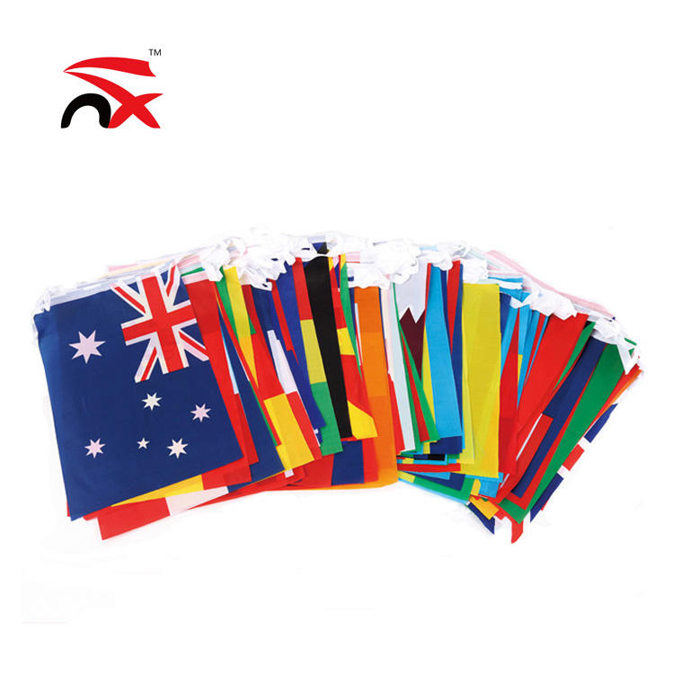 custom printed 200 countries flags per string world cup bunting string flags-free shipping