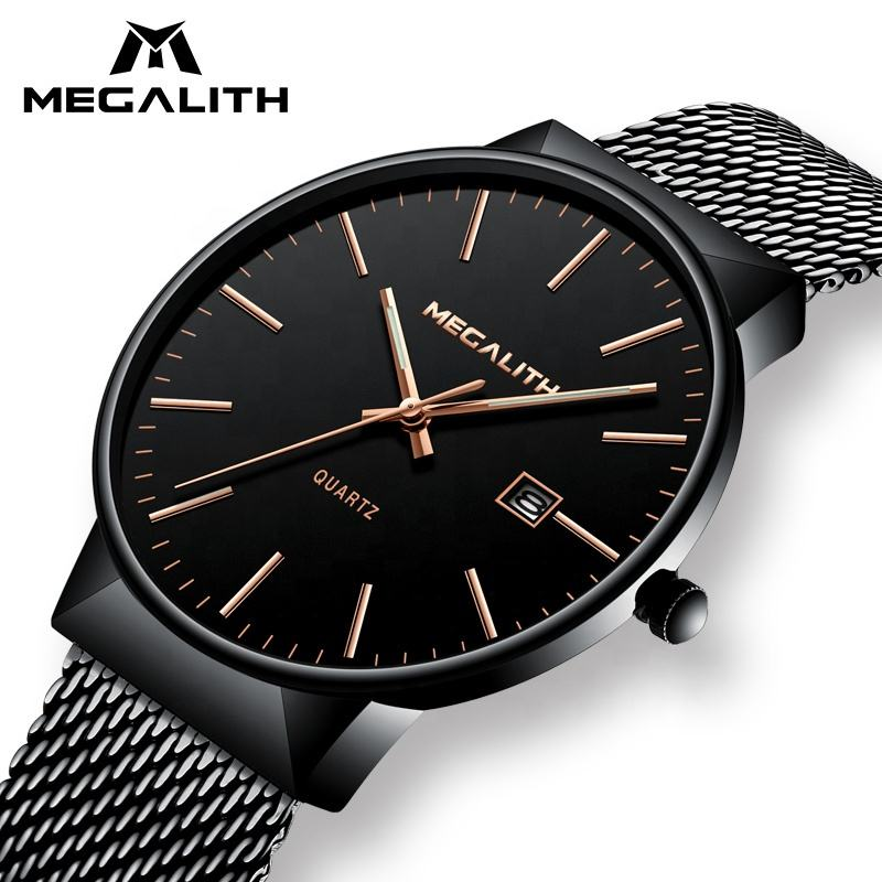 MEGALITH fashion luxury waterproof military date calendar black chronograph minute mesh quartz Japan movement watch battery