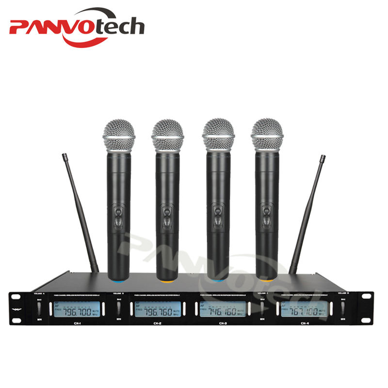 Panvotech UHF professional wireless microphone system, wireless karaoke microphone with 4-channel wireless mic