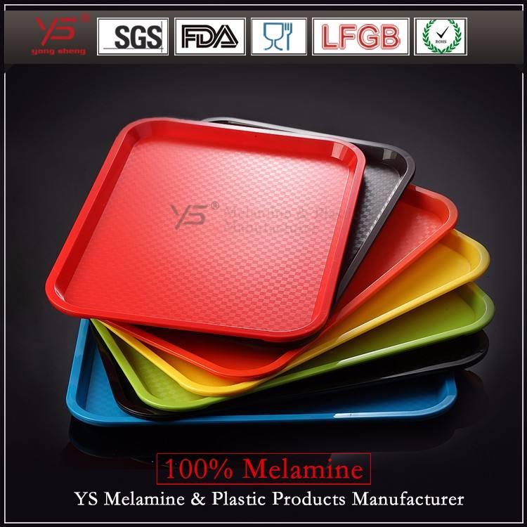 Торговля обеспечение набор пластиковой посуды для чая поднос, 100% поднос еды меламина, дешевый пластиковый поднос