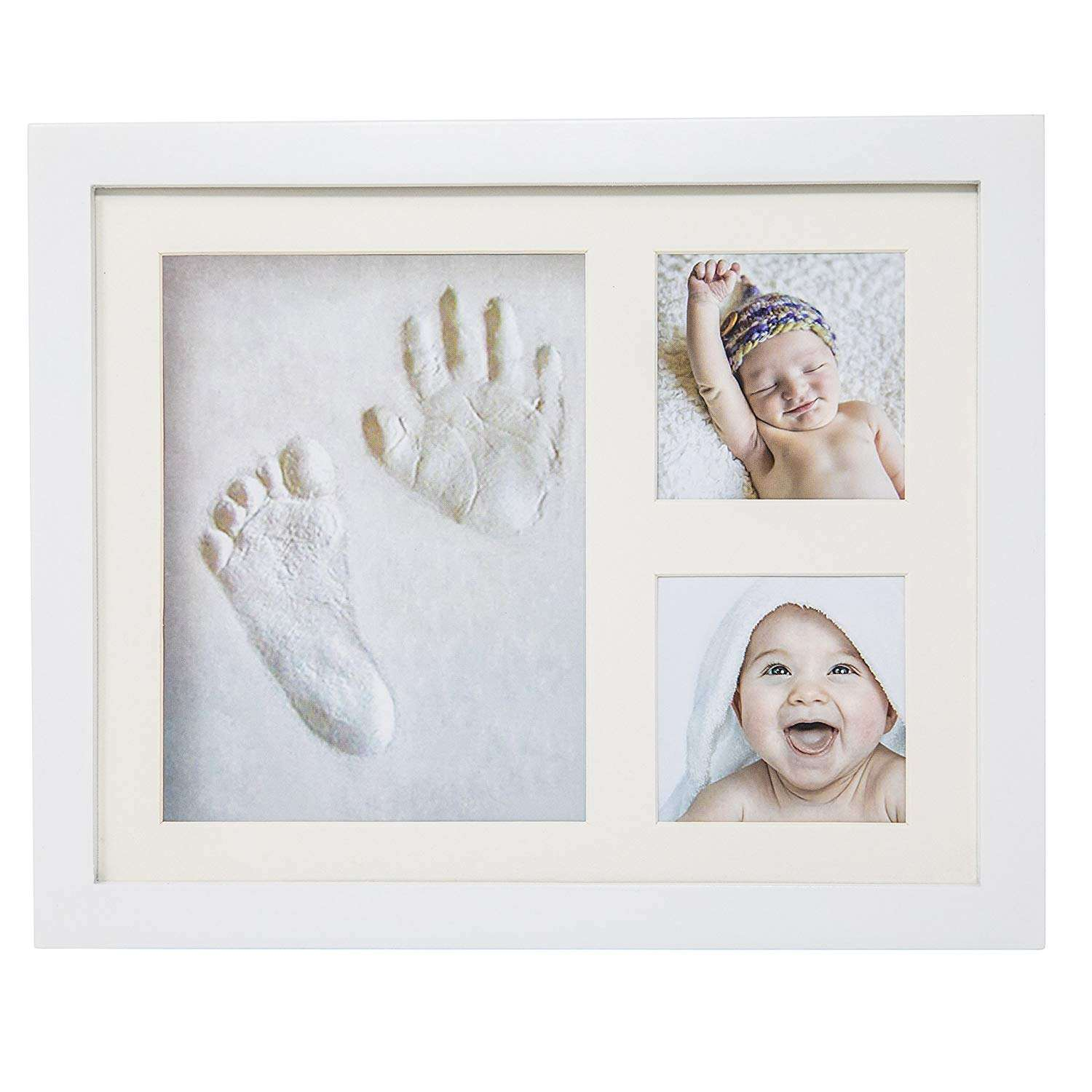 DIY baby 12 month handprint and footprint photo clay baby print frame kit