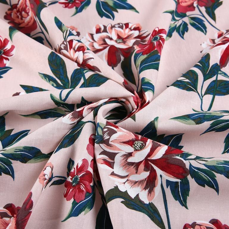 High quality woven plain 55% linen 45% viscose pink german floral digital print fabric for dress
