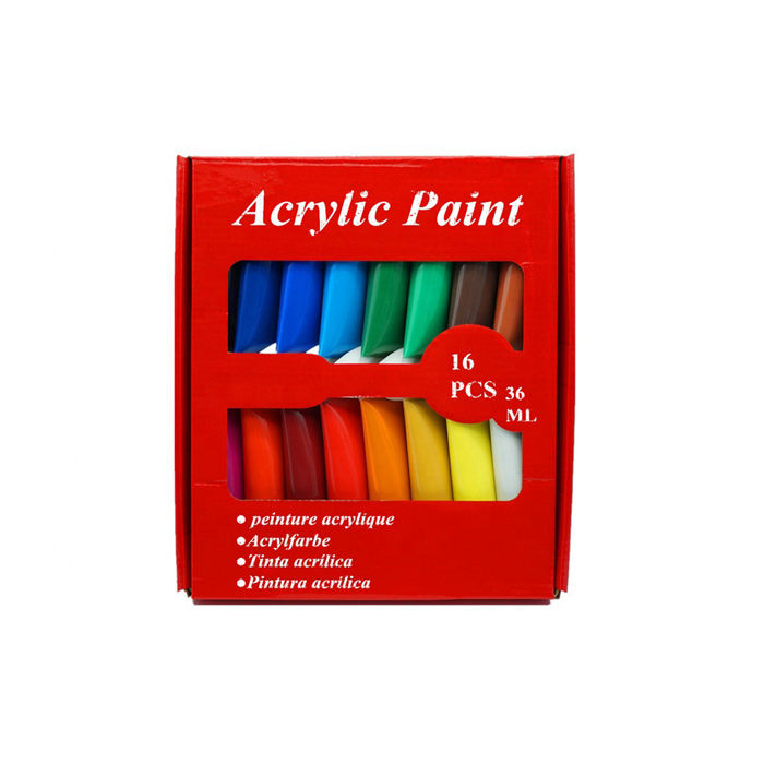 Bulk 100ml 36ml Good Quality16 colors plastic tube acrylic paint set