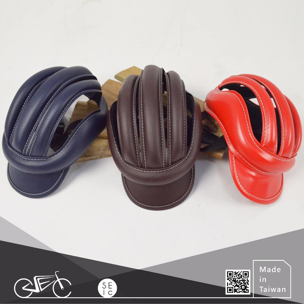 Fashionable bike accessory Taiwan OEM Synthetic leather bicycle helmet