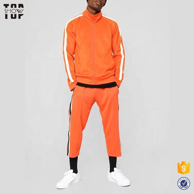 New product 2019 fashion custom men's orange track tracksuit with full zip