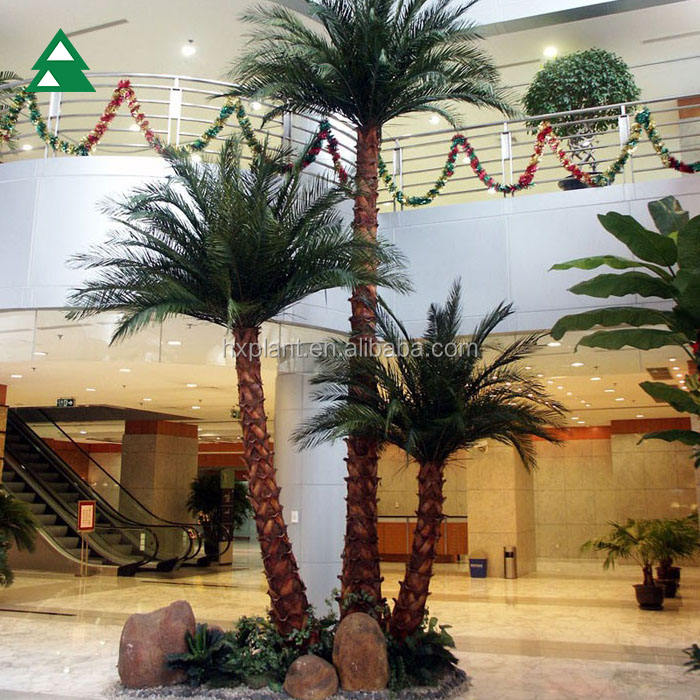 Wholesale Indoor Decorative Steel tube Plastic Artificial Palm Trees Canada Palm Tree For Sale