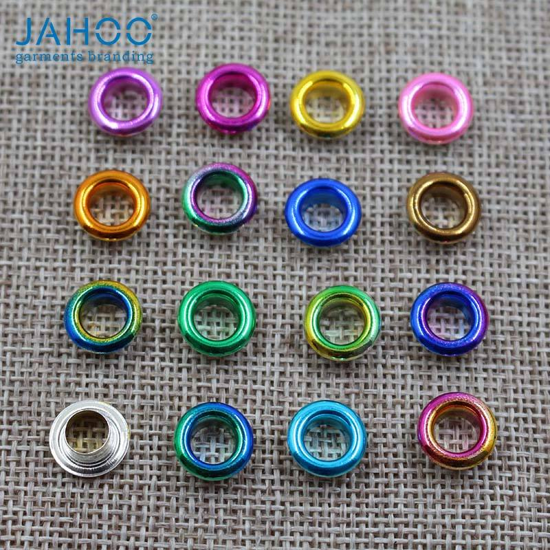 Stock Sale Small Size 6MM Fluorescent Neon Colorful Painted Metal Grommets Eyelets For Clothes
