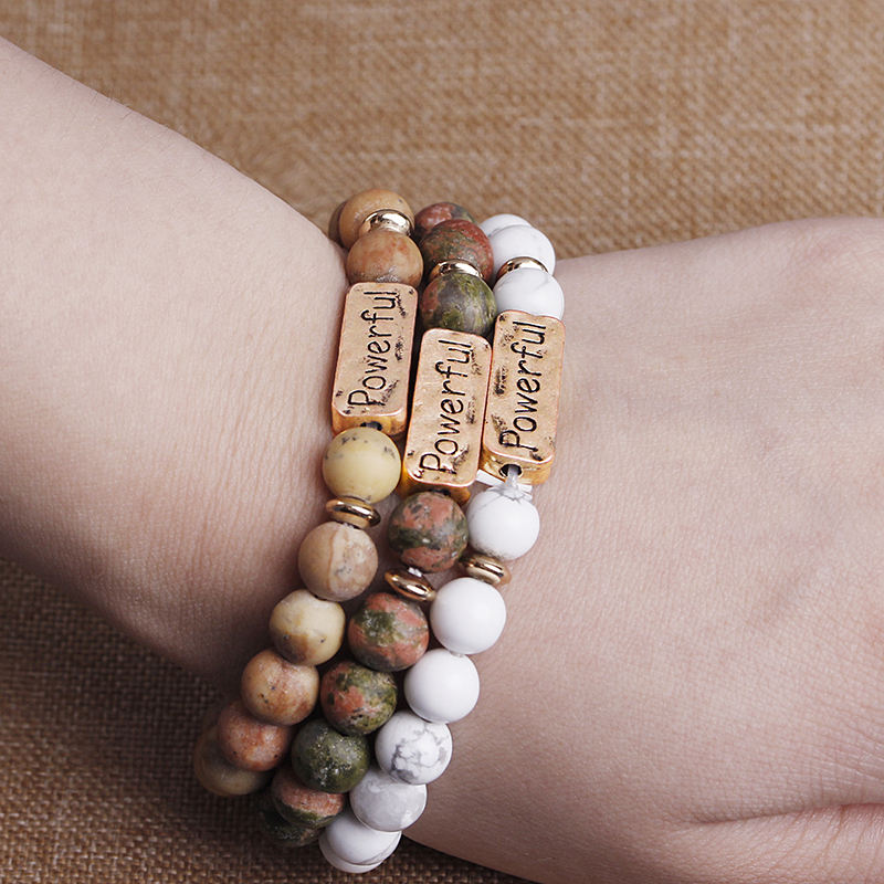 "Hot sell high quality ""powerful"" letter mens bracelets natural stone bead bracelet"