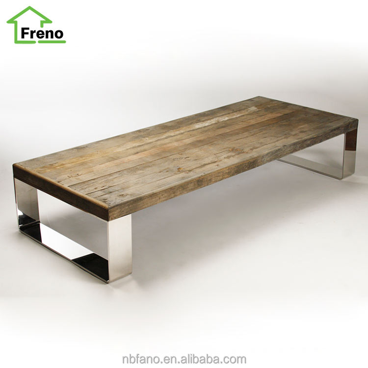 FN-1704 Refectory Table With Stainless Steel Legs Oak Dining Table