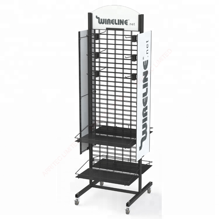 Metal Clothing Storage Display Stand Display Racks with Hooks