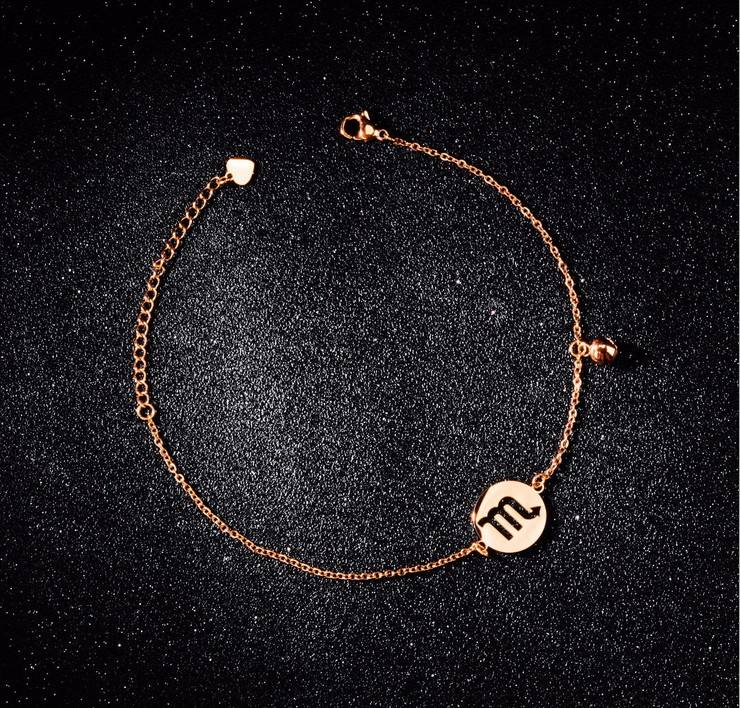 horoscope jewelry surgical stainless steel zodiac rose gold link chain anklet