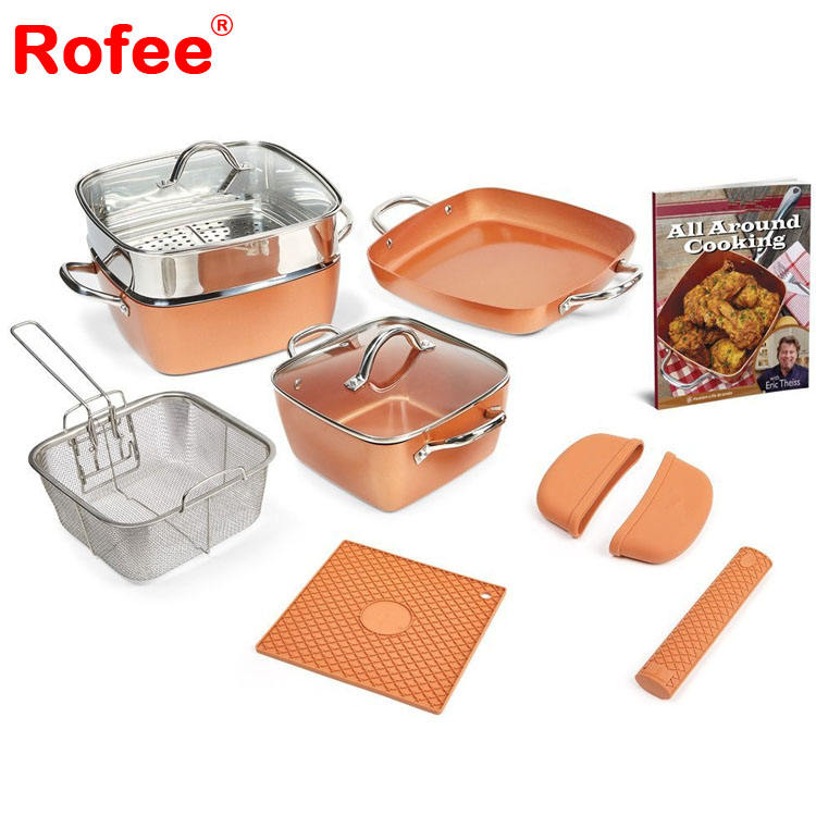 13 pcs non stick copper pan gold chef cookware set