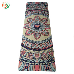 AY 2018 Custom Logo Oem Black Non Slip Eco Friendly Natural Rubber Printed Pu Suede Cork Kids Yoga Mat Pad Manufacturer