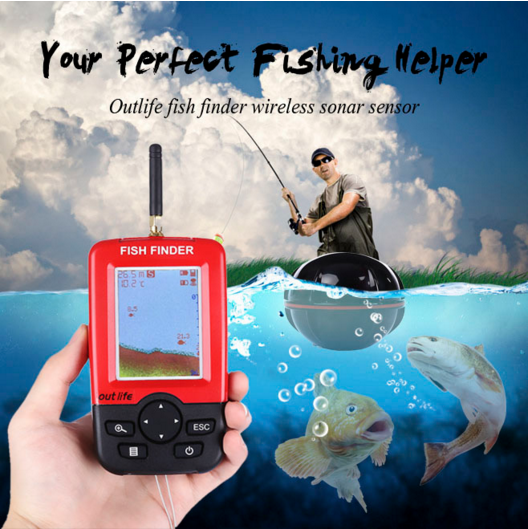 Gorgons Outdoor Fishing Gear Raft Fishing Tools LED Fishfinder Wireless Portable deeper Sonar Sensor Echo Sounder Fish Finder