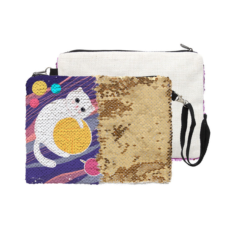 Sublimatie Custom Omkeerbare Sequin Glitter Koppelingen Cosmetische Make-up Kwasten Bag Pouch