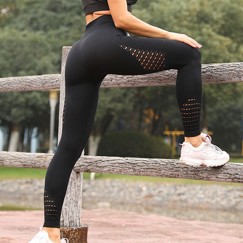 Hot style pure color nine-point yoga pants thigh hollow-out exercise fitness Yoga clothing