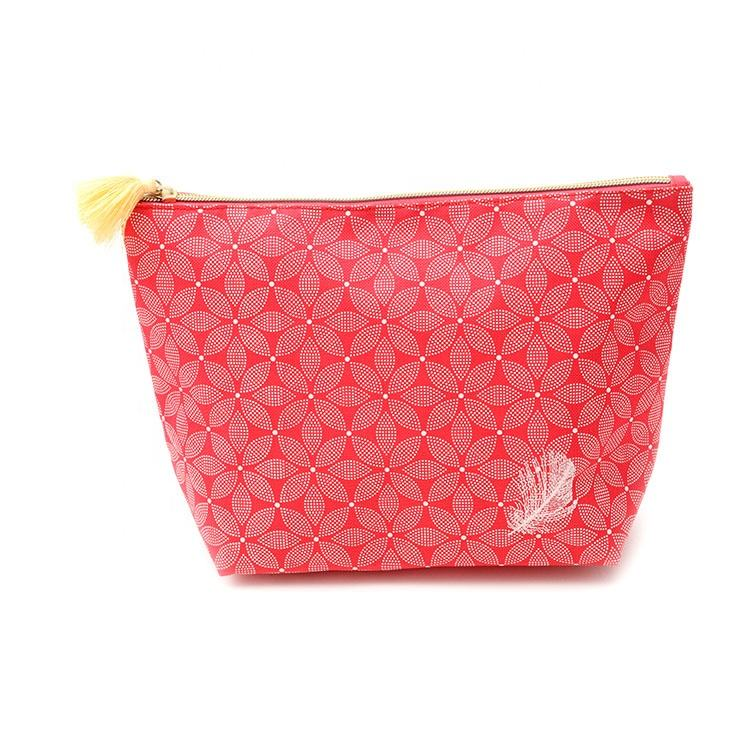 Woman lovely print flower printed coral Pink 600D Oxford zipper tassel pompom puller Cosmetic pouch