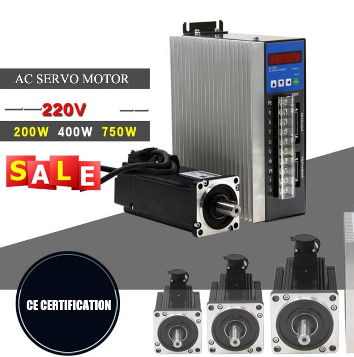 220V 750w 3phase ac servo motor driver cnc kit industrial sewing machine servo motor