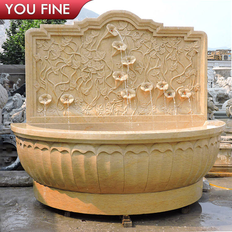 Classical Handmade Natural Beige Marble Lotus Wall Fountain for Sale