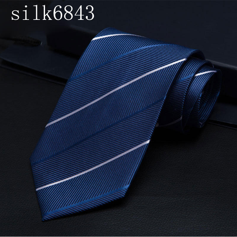 2020 Men Tie Navy Striped 100% Silk Tie Jacquard Party Wedding Woven Fashion Designers Necktie For Men silk6843