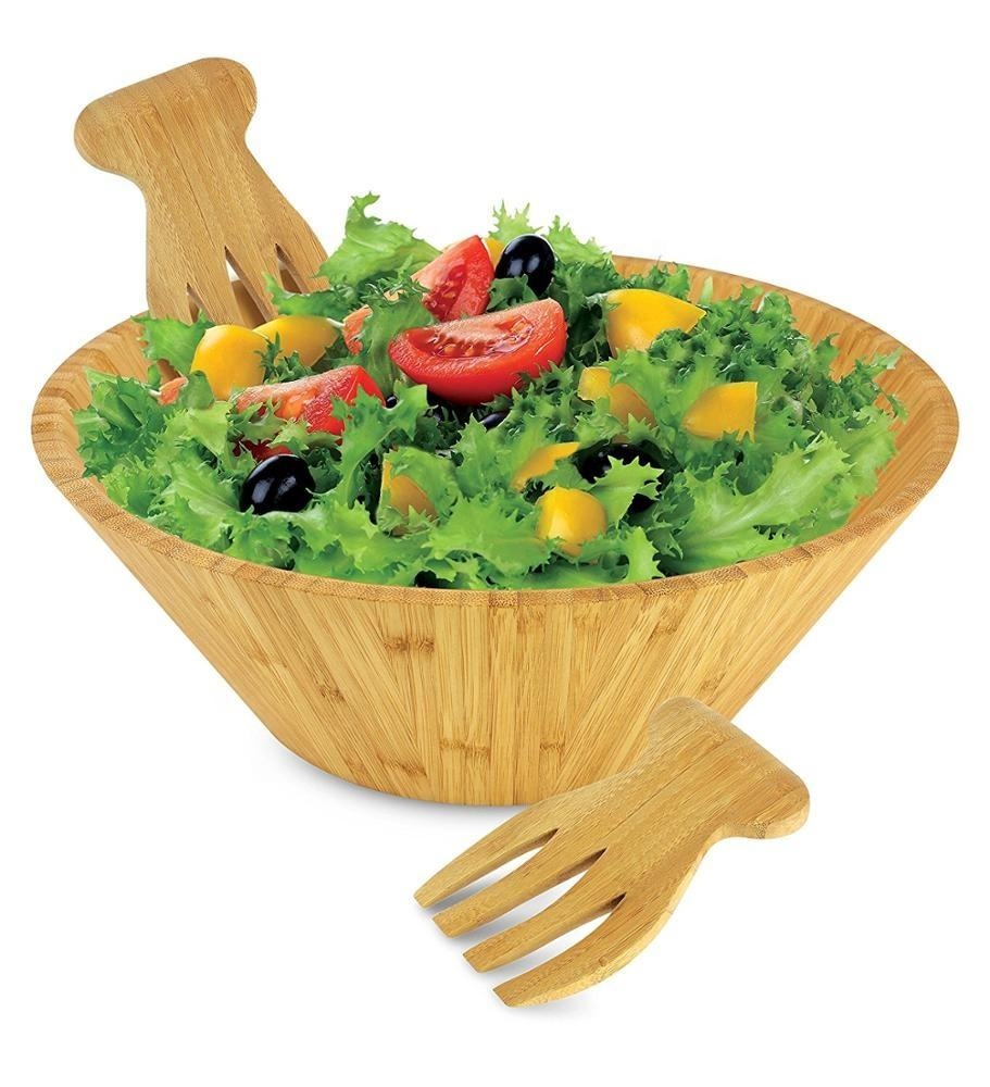 Bamboo Salad Bowl Set with Serving Hands,includes large bowl and matching salad servers, Perfect Christmas Gifts