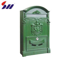Modern design green color stainless steel house numbers postbox/mail box /letterbox for apartment
