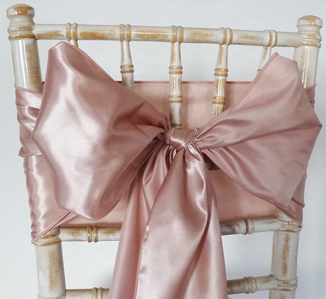 factory price rose gold satin chair sash for wedding