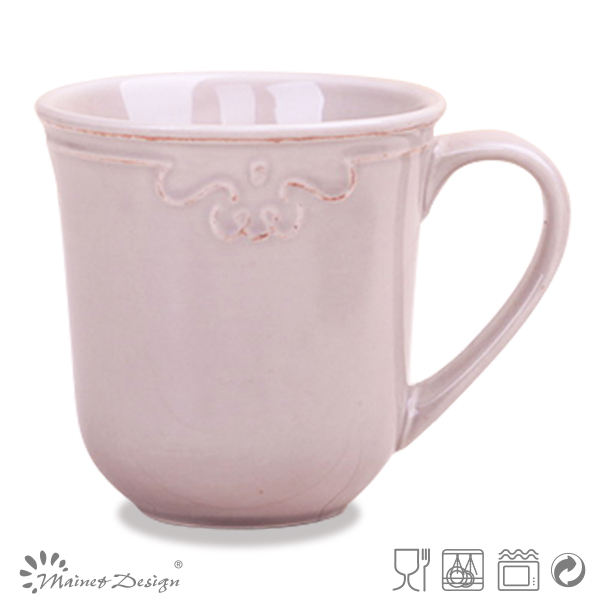Wholesale embossed espresso cup set ceramic teacup customized ceramic rose pink mug