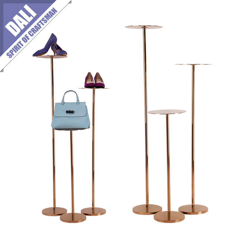 Vintage Square Metal Silver Shoe Stands
