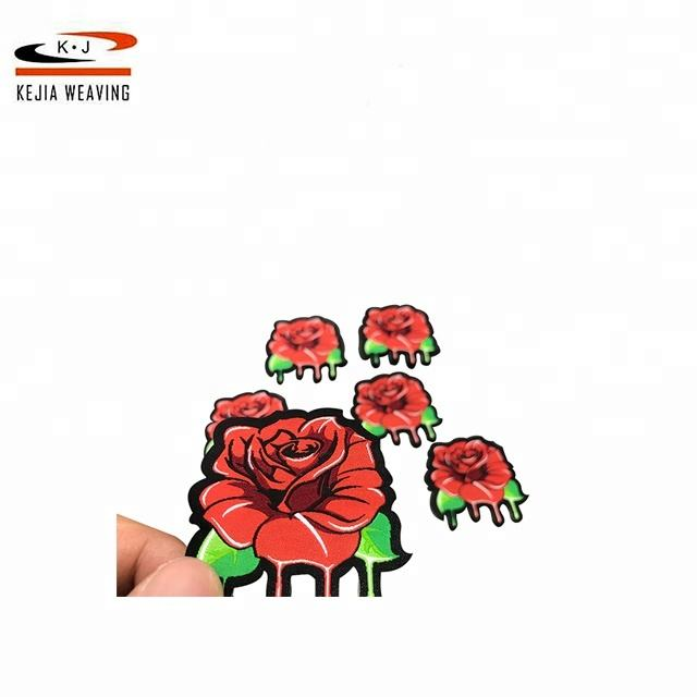 Ultrasonic Cut cheap Custom clothing brand patches embroidery flower