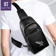 Hot Selling Wholesale Portable Casual Real Leather Leisure Crossbody bag Shoulder Chest Bag for Men