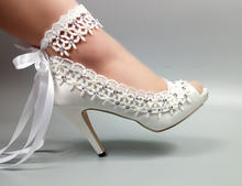 5cm 8cm 10cm top quality white color satin and lace peep toe women high heel bridal wedding shoes with pearls MWSB3