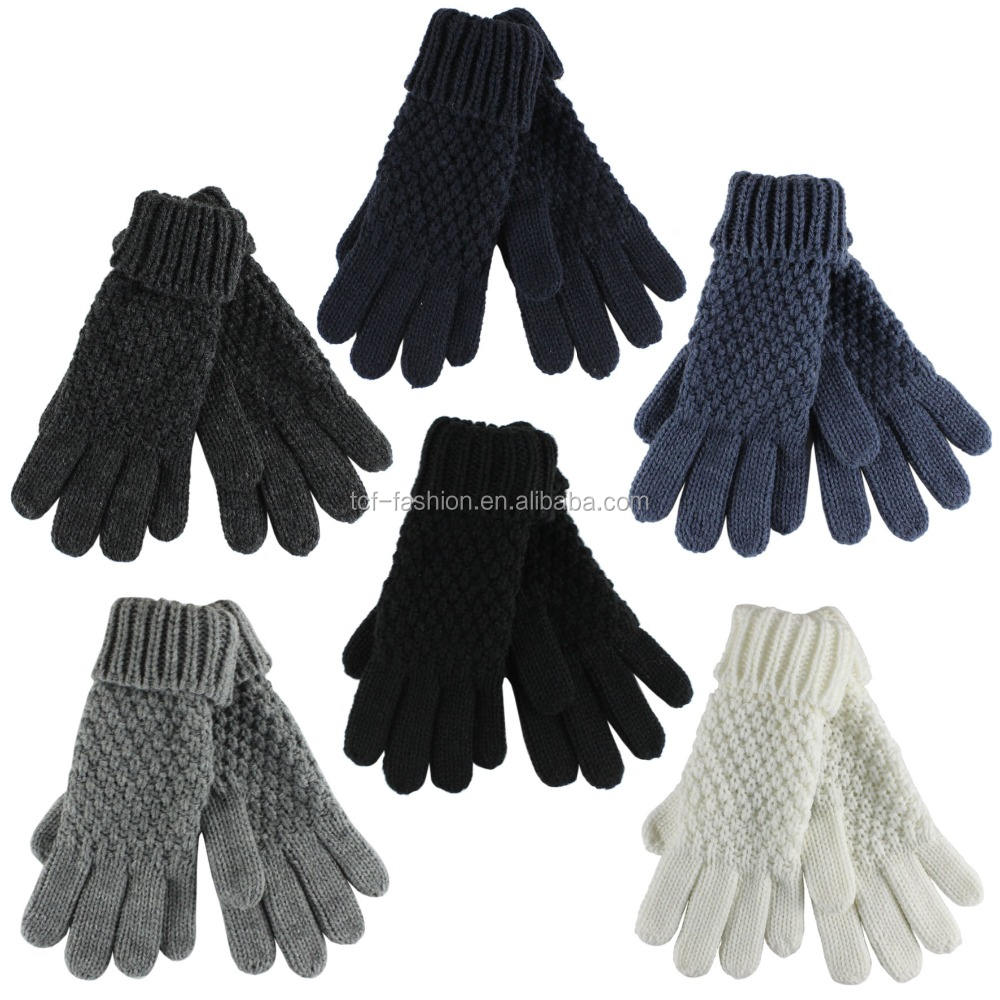 lady's fashion acrylic turn-up cable knitted gloves