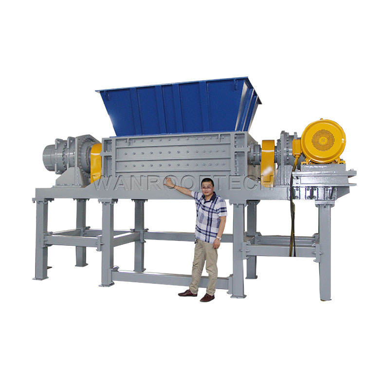 Double Shaft Shredder Glass Aluminum Plastic Recycling Machine