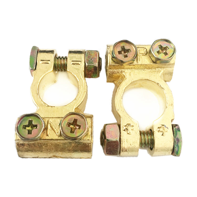 2 Pcs Brass Coated Car Battery Terminals Positive Negative Clamps crocodile alligator clips brass clip battery